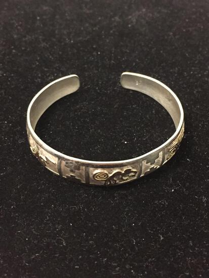 Vintage Native Sterling Silver & 18K Rose Gold Hierogliphic Cuff Bracelet - 14g