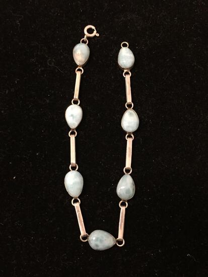 Larimar Lined Gemstone Sterling Silver 7.5 Inch Chain Bracelet