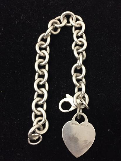 Signed Tiffany & Co Heart Toggle Heavy Sterling Silver Chain Bracelet - 34g