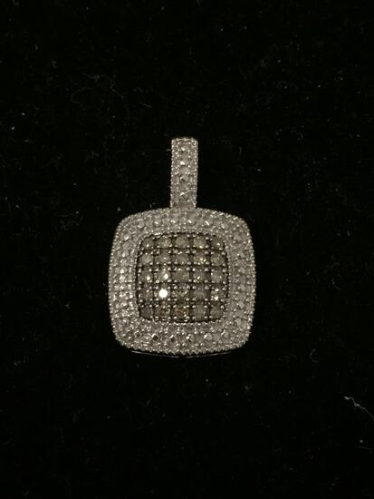 Stunning Chocolate & Clear Diamond Lined Sterling Silver Square Pendant