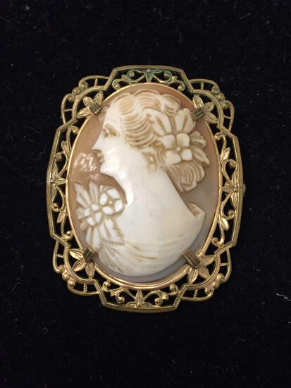 Antique Gold Filled Brooch Cameo Pin - 1.5 Inches