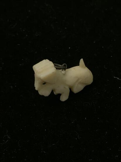 Carved Ivory Petite Puppy Dog Pendant Charm - Antique