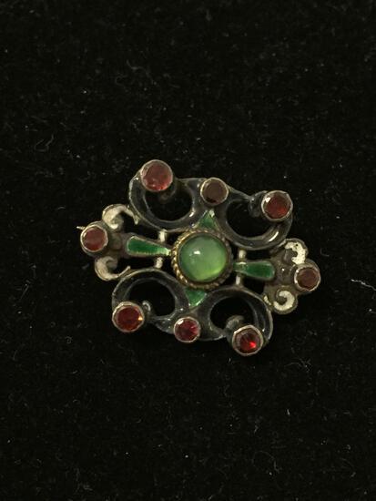 Antique Enamel Lined Front & Back Sterling Silver Brooch Pin W/ Red Garnets & Peridot