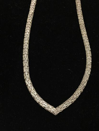 18 Thick Sterling Silver V Neck Chain Necklace - 28g