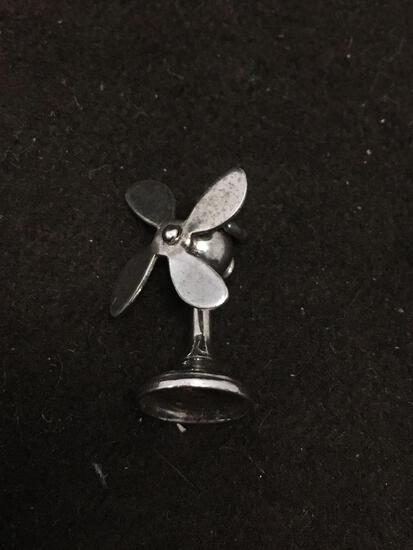 Spinning Fan Sterling Silver Charm Pendant