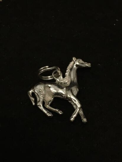 Designer Carved Horse Sterling Silver Charm Pendant