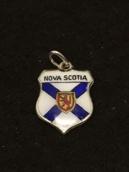 Germany Made Enamel Nova Scotia Crest Sterling Silver Charm Pendant