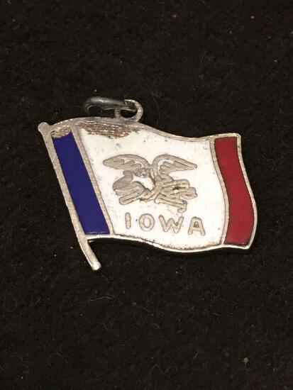 Enameled Iowa Flag Sterling Silver Charm Pendant