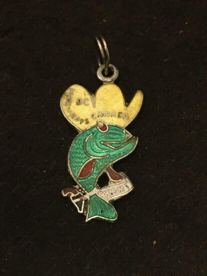 BC Canada Enamel Fish W/ Cowboy Hat Sterling Silver Charm Pendant