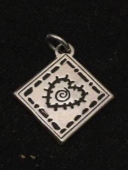 Designer PM Carved Heart Sterling Silver Charm Pendant