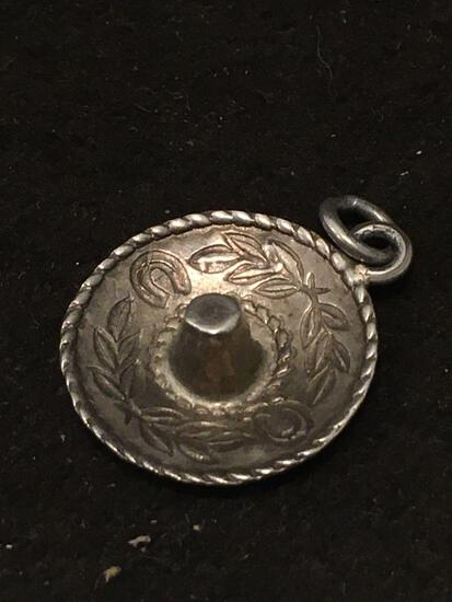 Old Pawn Taxco Sombrero Sterling Silver Charm Pendant