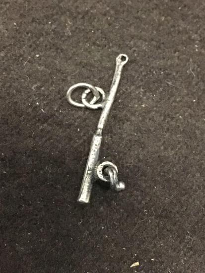 Vintage Fishing Pole Sterling Silver Charm Pendant