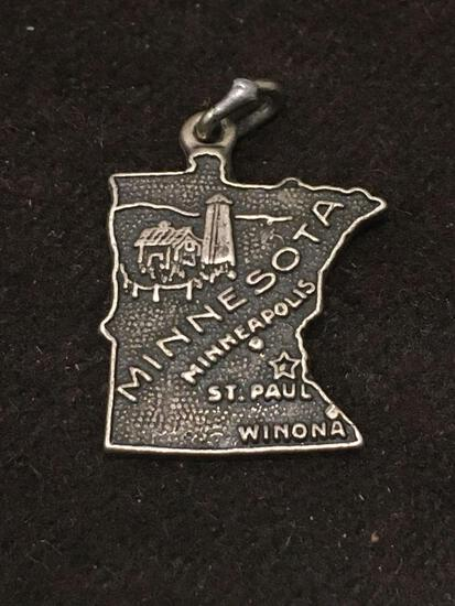 Minnesota Outlined Sterling Silver Charm Pendant
