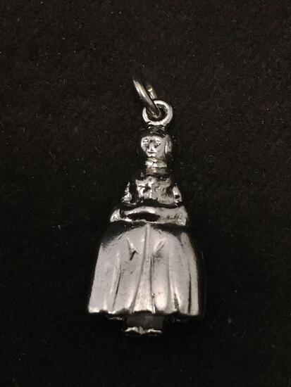 Women Dressed in Colonial Dress Sterling Silver Charm Pendant