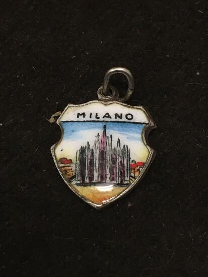 German 800 Sterling Silver Milano Italy Enameled Charm Pendant