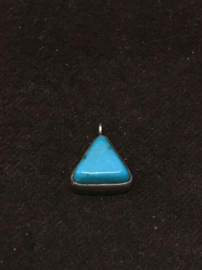 Native American Hallmarked Turquoise & Sterling Silver Charm Pendant