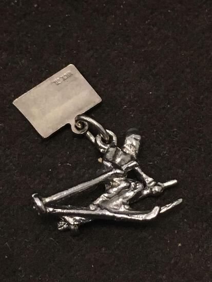 Colorado Down Hill Skiier Sterling Silver Charm Pendant