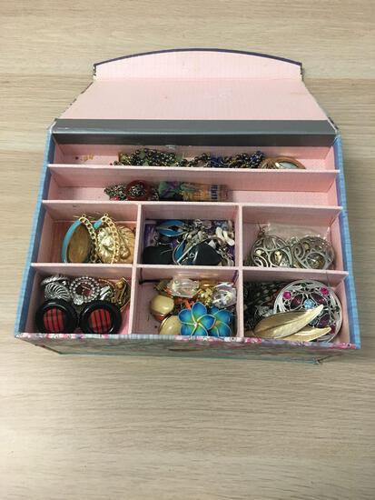 Small Jewelry Box With Various Unworn Costume Jewelry