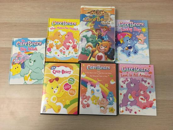Lot Of Care Bears Books, DVDs, and VHS Tape