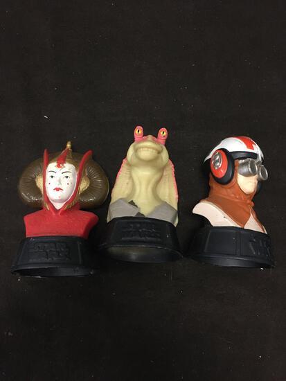 3 Count Lot of Star Wars Phantom Menace Busts