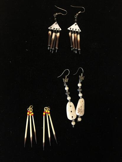 Lot of Three Painted Bone Old Pawn Native American Style Pair of Drop Earrings