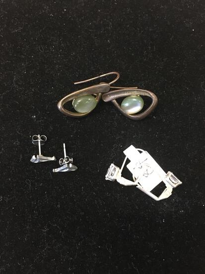 Lot of Three Silver-Tone Alloy Pairs of Earrings, One w/ Abalone Accent, One w/ Zircon & Sailboat