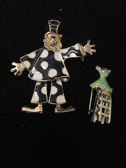 Lot of Two Gold-Tone Alloy Brooches, One Enameled Dancing Clown & One Enameled Teddy Bear