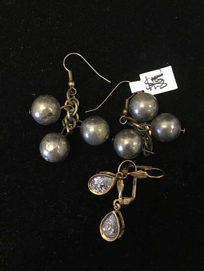 Lot of Two Pairs of Alloy Earrings, One Gold-Tone w/ Pear Zircon & One w/ Triple Ball Accents