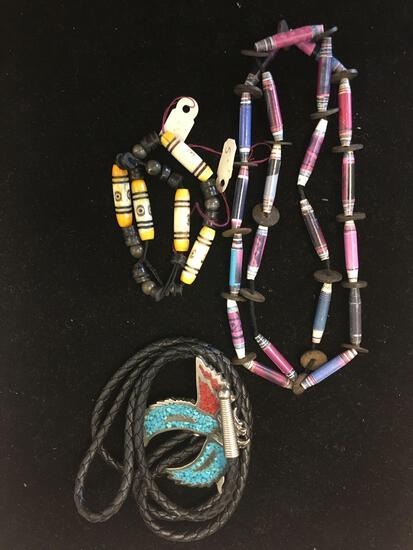 Lot of Three, Two Hand-Beaded Colorful 24in Necklace & 10in Bracelet w/ Old Pawn Native American