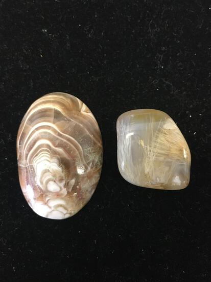 Lot of Two Polished Tumbled Rough of Brown Colored Agate Loose Gemstones