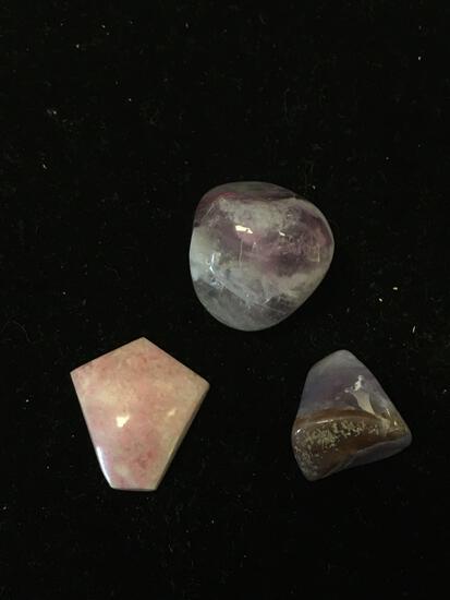 Lot of Three Polished Tumbled Gemstones, Two Amethyst & One Rhodochrosite
