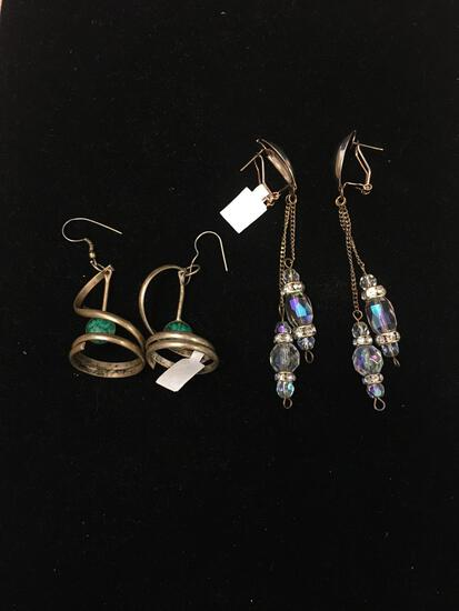 Lot of Two Larger Gemstone Accented Gold-Tone Alloy Pairs of Drop Earrings