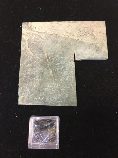 Lot of Five Miscellaneous Items, Three Faceted Gemstones & One slab of Jade