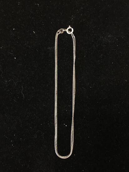 Box Link 18in Long 1.0mm Wide Sterling Silver Chain