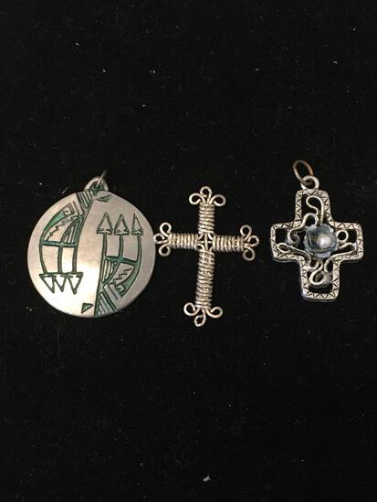 Lot of Three Silver-Tone Alloy Pendants, Two Cross Motif & One Old Pawn Native American Style