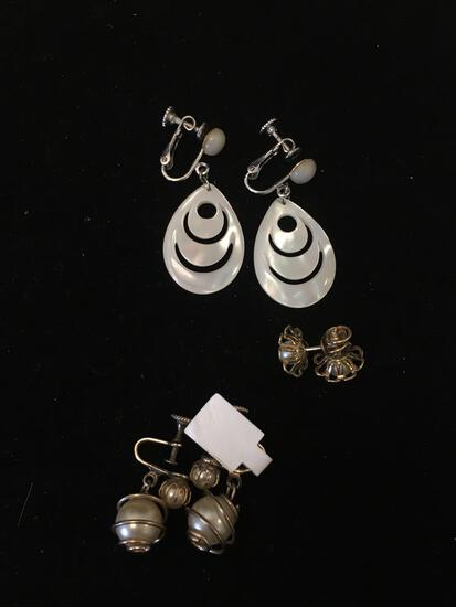 Lot of Three Alloy Pearl Motif Pairs of Earrings, Two w/ Faux Pearl Accent & One w/ Mother of Pearl