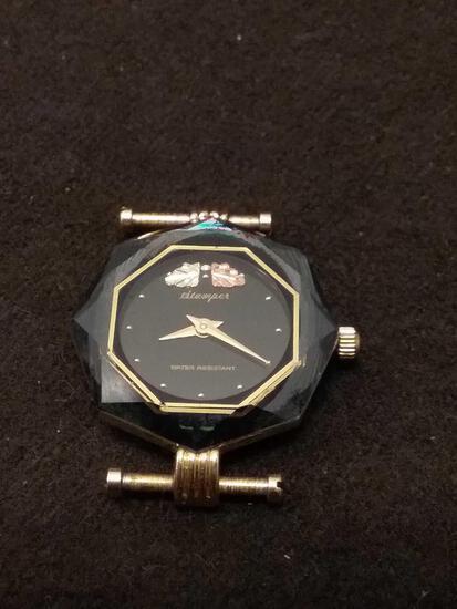 Rare Stamper Ladies 10K Gold & Stainless Steel Watch - Black Hills - 13 Grams Total Weight