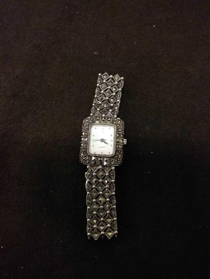 Solid OBJ Sterling Silver Marcasite Watch Band And Watch 37 Grams Total Weight
