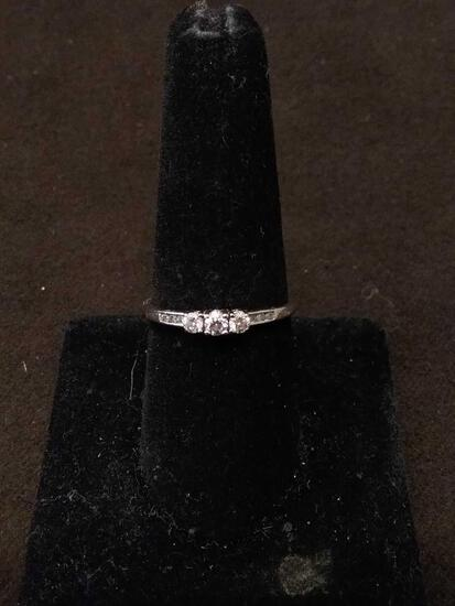 Incredible 14K White Gold & Diamond Lined Engagement Ring Sz 8.75 - 1.6 Grams
