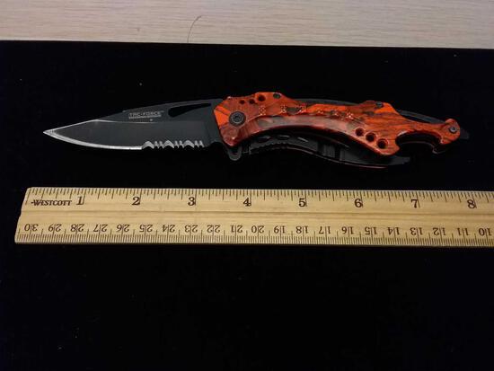 Task-Force Speedster Model TF-705 Orange Hunting Camo Pocket Knife