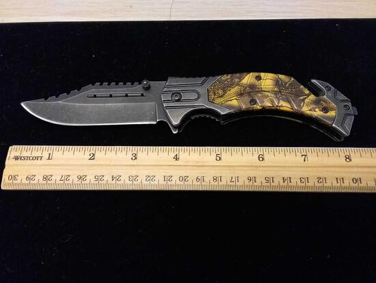 440 Steel Camo Hunting Thick Pocket Knife