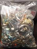 Giant Bag Of Estate Costume & Vintage Jewelry Over 4 Pounds