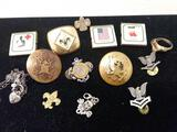 Lot of Vintage Crests US Military Boy Scouts And More