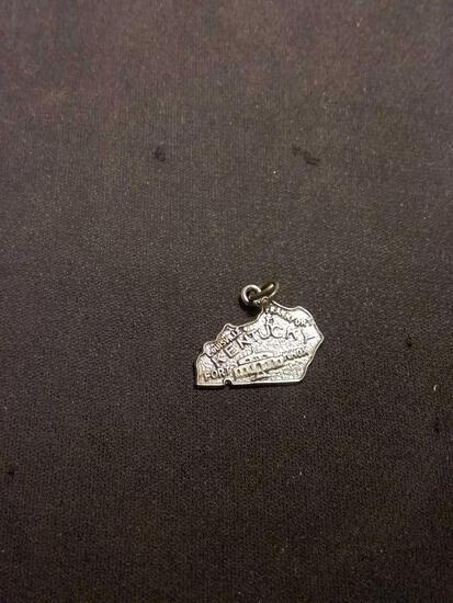 Kentucky Carved State Outline Sterling Silver Charm Pendant
