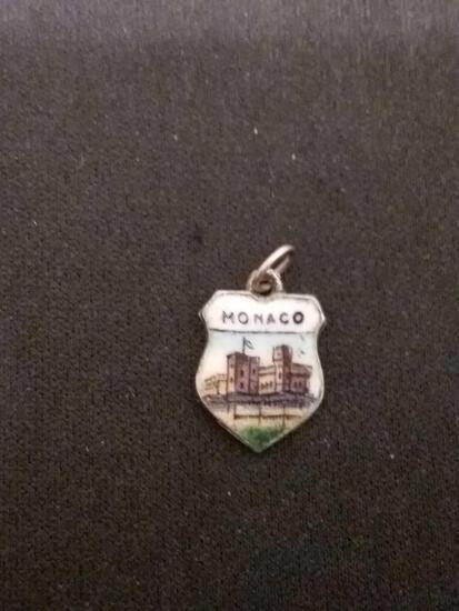 Monaco Enamel City Scene 800 German Sterling Silver Charm Pendant