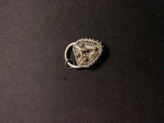 Vintage 3D Paddlock Filigree Sterling Silver Charm Pendant