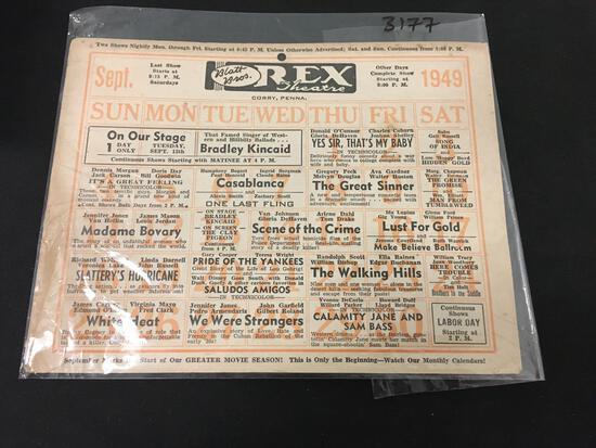INCREDIBLE 1949 Blatt Bros Rex Theatre Original PA Calendar