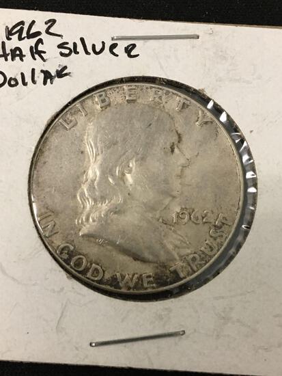 1962 United States Franklin Half Dollar - 90% Silver Coin