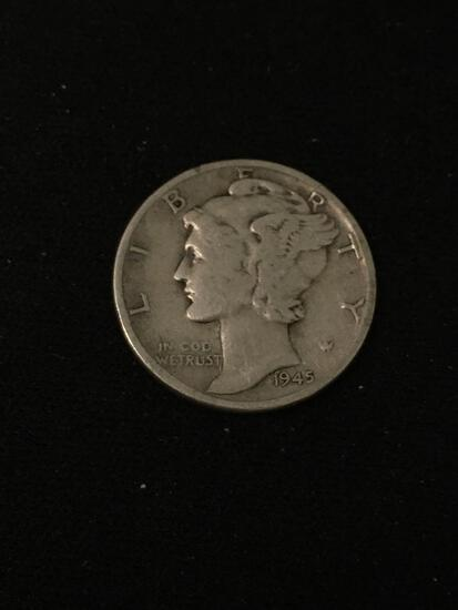 1945 United States Mercury Dime - 90% Silver Coin