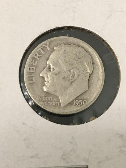 1950 United States Roosevelt Dime - 90% Silver Coin